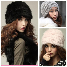 Women Rex Rabbit Fur Hat Russian Cossack Knitted Cap Vintage Fluffy Women Winter Warm Beanie Hat Ski Cap Headgear Top Quality(China (Mainland))
