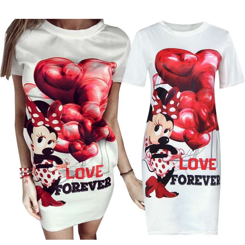 2017 Women Dresses Summer Sexy Letter Red Heart Print Bodycon Minie Mouse Beach Maxi Casual Dresses Vintage Vestidos(China (Mainland))