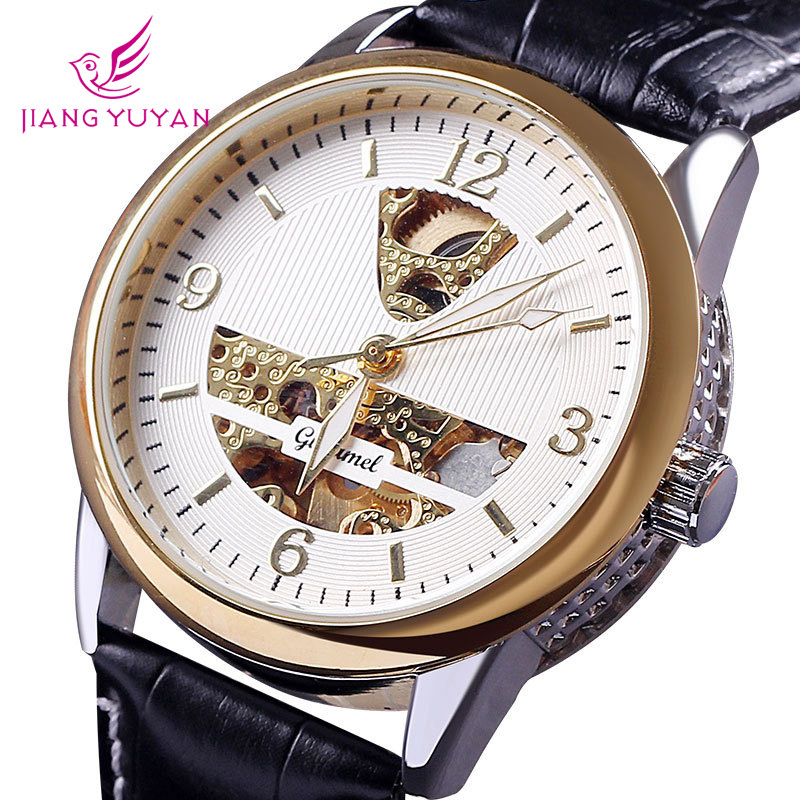 Professional dropship hot sale relogio luxury brand rose gold hollow design genuine leather strap men automatic mechanical watch(China (Mainland))
