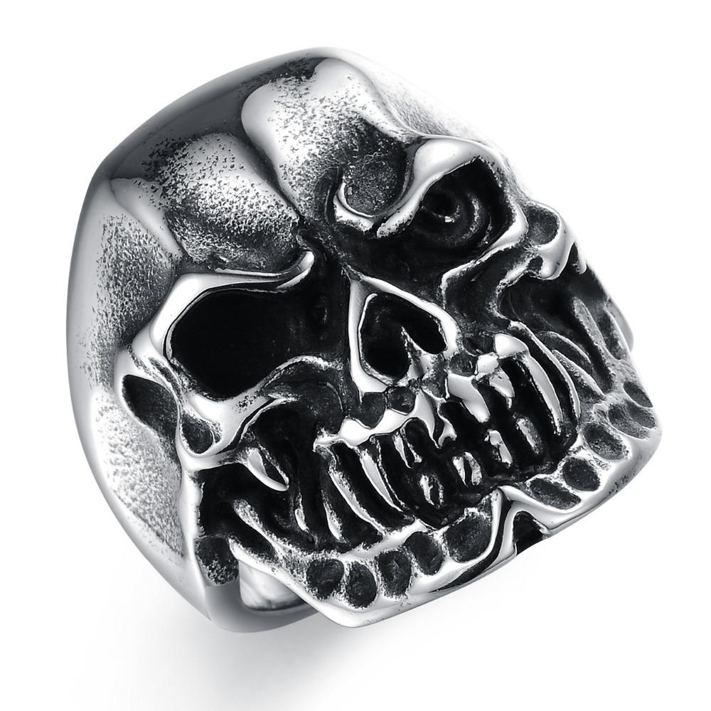 2015 New Jewelry Fashion Hot Trend Skull Punk Men's Titanium Steel Ring Gj432 Domineering Personality - kiki fashion jewelry ( worldwide store)