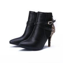 MLJUESE 2018 kadın yarım çizmeler sonbahar bahar sivri burun leopar renk çapraz kravat başak topuklu yarım çizmeler kadın boyutu 32- 43(China)