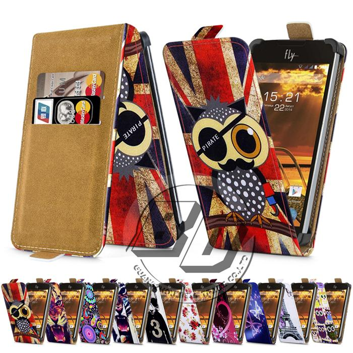 Fly IQ4401 Era Energie 2 Case Universal 4 Inch Phone Flip PU Leather Printed Cases Cover With Card Slots for fly iq 4401(China (Mainland))