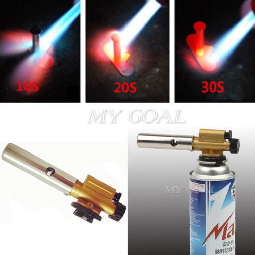 Gas Torch Butane Burner Auto Ignition Camping Welding Flamethrower BBQ Travel - home&garden tool store