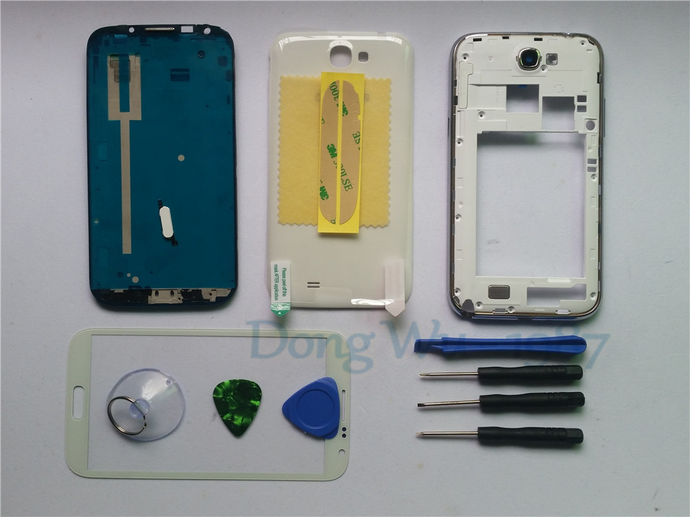 White Mobile Phone Replacement Full Housing Cover Case + Screen Glass Lens For Samsung Note 2 Galaxy N7100 Tools Buttons