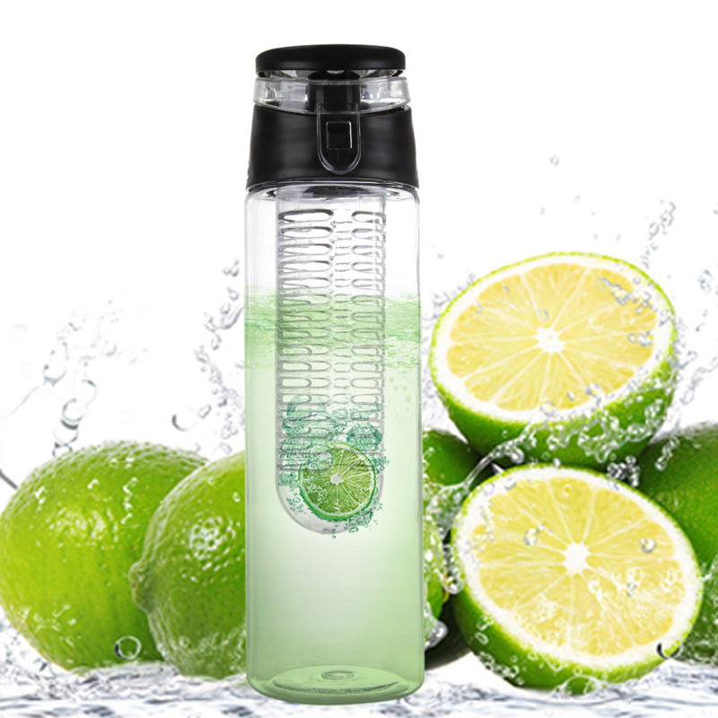 800ML Fruit Infusing Infuser Water Sports Lemon Juice Bottle Flip Lid for kitchen table Camping travel outdoor application NVIE(China (Mainland))