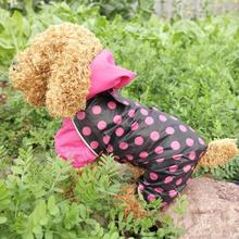 Free shipping Polka Dots Pet products dog clothes puppy clothing waterproof dogs raincoat jumpsuit 3 colors XS ,S,M,L,XL,(China (Mainland))
