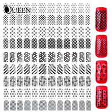 New 3d Nail Stickers,108pcs/sheet Black Design Adhesive Metallic Nail Art Tips Decals,DIY Fingernail Beauty Nail Decorations
