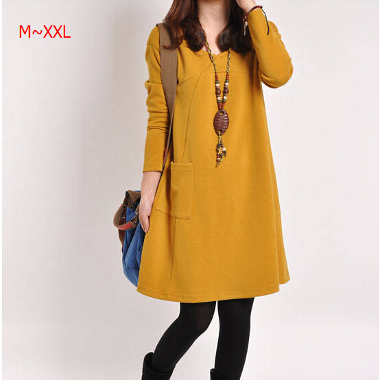 Factory price retail Women Clothing M ~ XXL solid spring new Korean version of casual easing long-sleeved V-neck dress #4(China (Mainland))