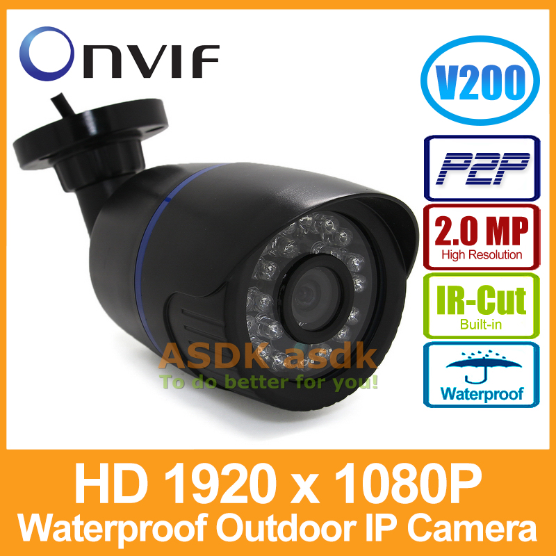 1920 x 1080P 2.0MP 24LED IR Waterproof Bullet IP Camera Outdoor CCTV Camera ONVIF Night Vision P2P IP Security Cam with IR-Cut(China (Mainland))