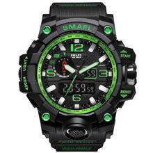 גברים צבאי שעון 50m עמיד למים שעוני יד LED קוורץ שעון ספורט שעון זכר relogios masculino 1545 ספורט שעון גברים S הלם(China)