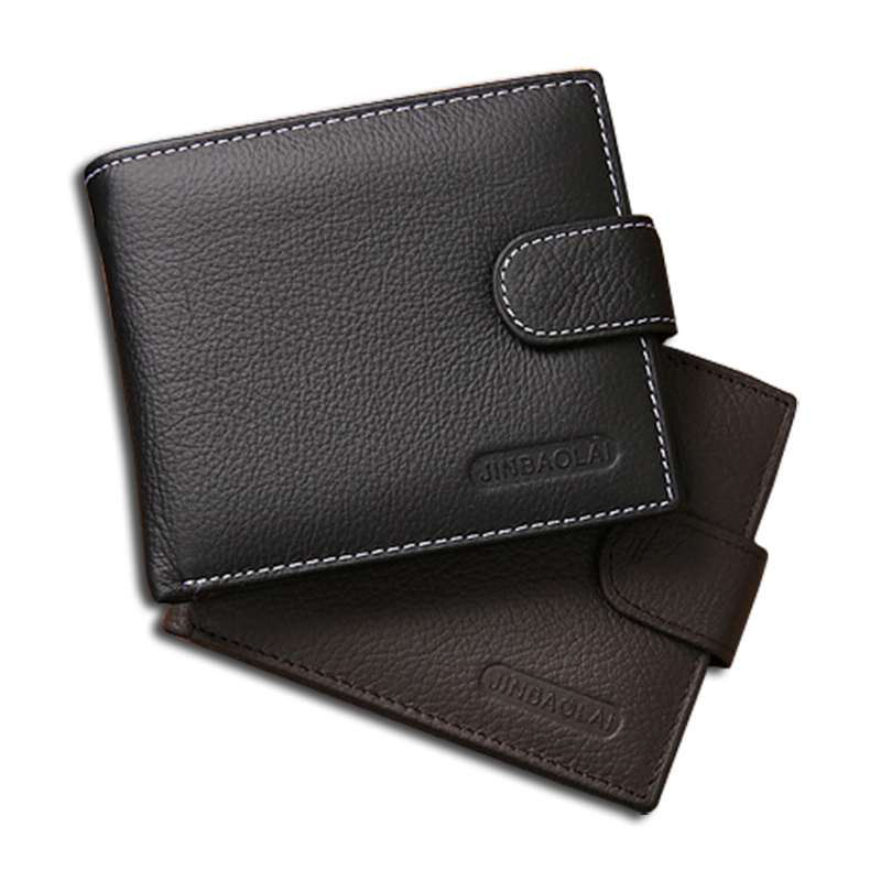 Wallet men genuine leather cowhide men wallets with coin pocket zipper money bag business purse short male purse leather wallet(China (Mainland))