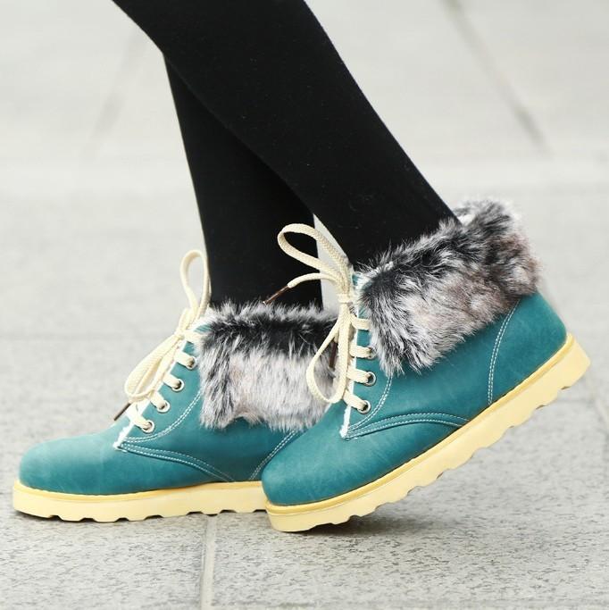 ENMAYER  Fashion Snow Boots Warm Fur Shoes for Women 2013 Flats Lace Up Womens Ankle Boots Shoes large size 34-43<br><br>Aliexpress