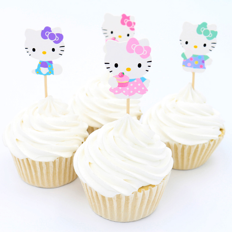 48pcs Lovely cut Cat Hello kitty Cup cake topper pick Sweet cat kitty party supplies Picks birthday wedding party decoration(China (Mainland))