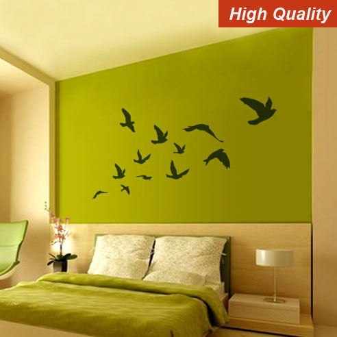 Free Shipping Home Decor Bird Pretty Flying Birds Removable Wall Sticker Wall Decal(200CMX110CM)(China (Mainland))