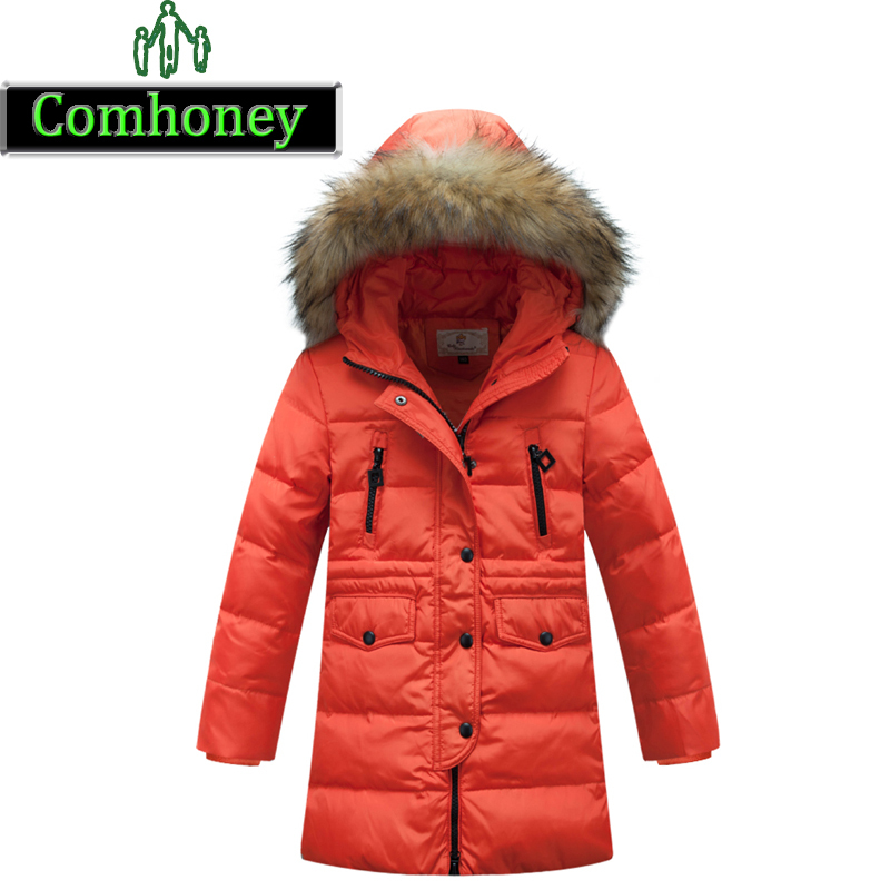 Winter Jackets For Teenage Girls Long Winter Coat Thick Children Down Jacket For Girl Black Down Coat For 12 Year Old Girl(China (Mainland))