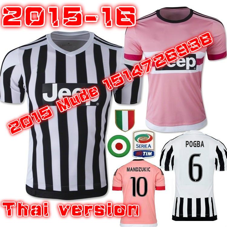 2016 Home away POGBA Jersey 15 16 TEVEZ VIDAL MACHISIO MORATA Football Shirt 2015 men PRILO magliette da calcio(China (Mainland))