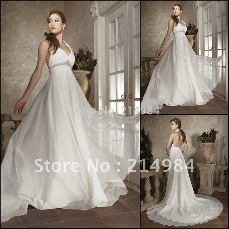 White ivory elegant sexy backless a line chiffon halter for Aline halter wedding dresses