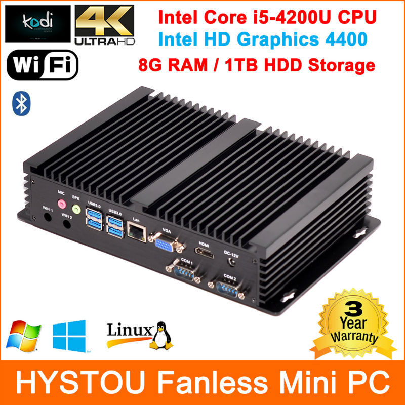 Smaller Fanless Industrial Computer Intel Core i5-4200U 2G/4G/8G RAM + HDD/SSD WIFI HDMI+VGA Ultra HD4400 4K Aluminum Case(China (Mainland))