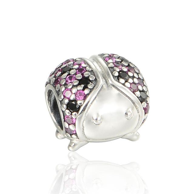 Чистый 925-Sterling-Silver божья коровка вымощает CZ камни темы BeadsFits пандора браслет змея цепи DIY женщины ювелирных изделий