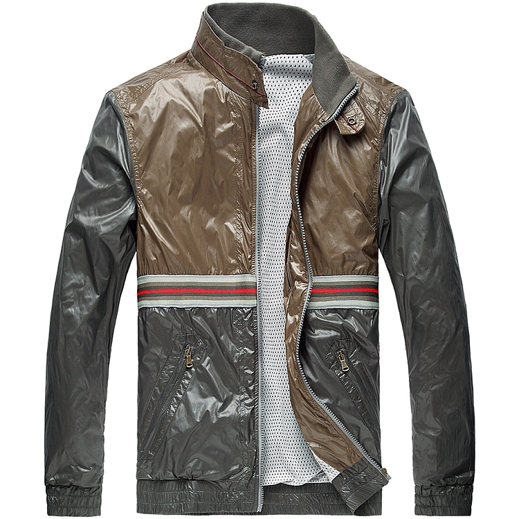 Italian Luxury Brand Men's Stand Collar Bomber Jacket Spring Summer Autumn Thin Mens Jakets And Coats Slim Veste Homme Marque(China (Mainland))