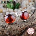 BALMORA Red Zircon Earrings 925 Sterling Silver Women All match Stud Earrings Party Wedding Gift Fashion