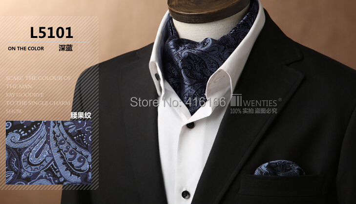 100% Silk Men Ascot Cravat(Scarves Scarf )+Pocket Square 1set Jacquard Ties Paisley Floral Free shipping(China (Mainland))