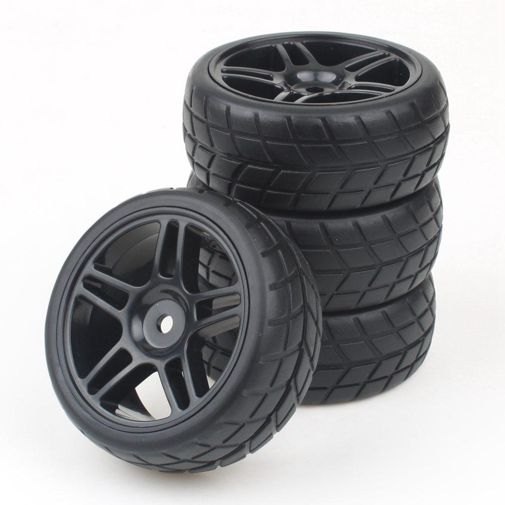 4PCS 12mm Hub Wheel Rim & Tires HSP 1:10 On-Road RC Flat Racing Car 20111(China (Mainland))