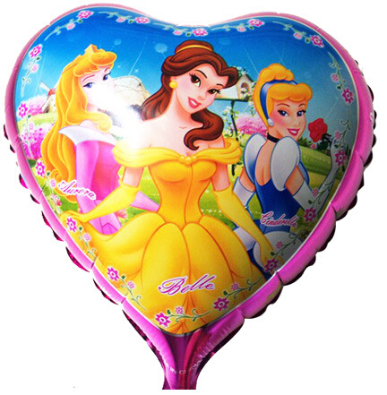 Lucky 10pcs/lot 18 inch Children's Classic Toy Three Princess Balloon Aluminum Helium Balloons Birthday Party baloons Wholesale(China (Mainland))