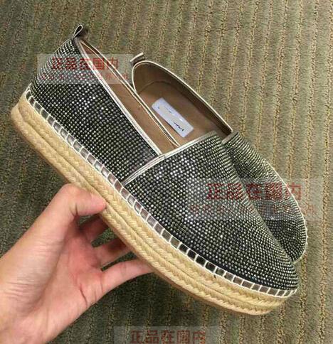 Fashion brand design platform shoes flat fishermen straw sponge bottom diamond luxury product high grade shoes women's shoes(China (Mainland))