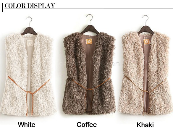 Big Discount 2014 Plus Size Faux Fur Short Design Wool Sweater Vest Waistcoat Women's Vest Fur Vest With Belt 12(China (Mainland))