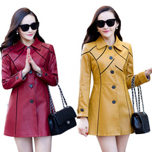 2016 Spring Autumn Winter Leather Jacket Women PU Long Leather Coat Women Turn-down Collar Faux Leather Jacket L-5XL(China (Mainland))