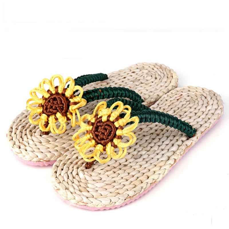 Folk Handmade Women Sandals Sunflower Foot Massage Slippers Woven Straw Sandals Women's Shoes XWZ1462(China (Mainland))