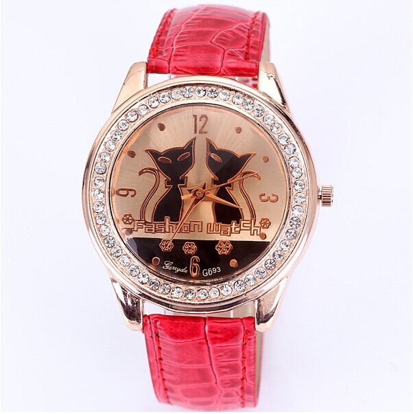 Top Popular Women Rhinestone Watches Fashion Quartz Watch Alloy Analog Double Cat Pattern PU Band Diamond Wristwatches Free ship(China (Mainland))