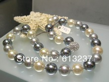 hot Free postage diy Designer 12mm  quality multicolor South Sea Shell Pearl 18 inches Necklace YE3009(China (Mainland))
