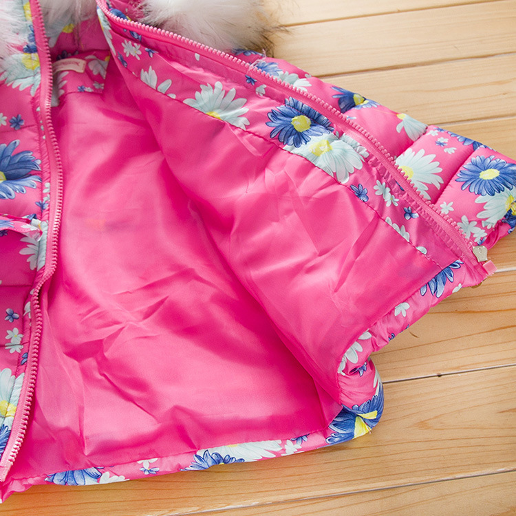 Скидки на Горячая! 2016 высокое качество зимней детской одежды большой цветок девушки пуховик с капюшоном лыжный одежда теплое