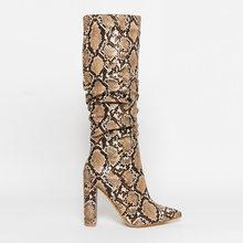 WETKISS renkli yılan cilt çizmeler kadın yüksek topuklu kalın orta buzağı çizme sıkıntılı sivri burun Zip ayakkabı pilili botları slouch 2020(China)