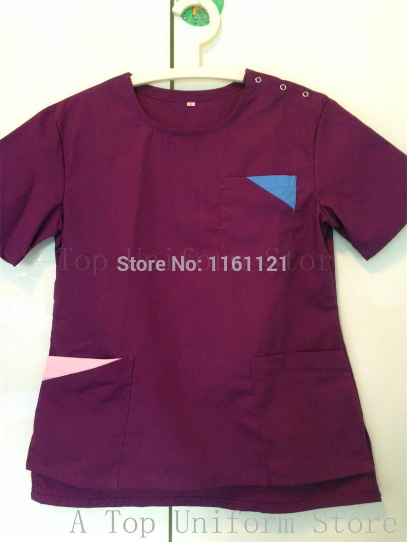 2015 Korea Style Women's Summer Short Sleeve Open Shoulder Round Neck Hospital Surgical Or Medical Scrub Clothes Sets Uniforms(China (Mainland))
