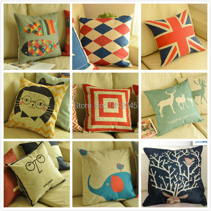 Hot sale Decorative Pillows Cotton Linen Pillow Cushion Cover Creative Decoration For Home Sofa Car Pillow cushions 45X45cm(China (Mainland))