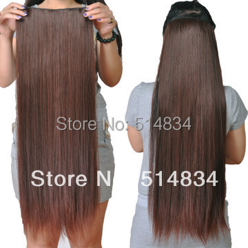 60cm flip extensiones cabelo sintetico synthetic clip in hair extensions long straight women hair piece,blonde hair extension(China (Mainland))