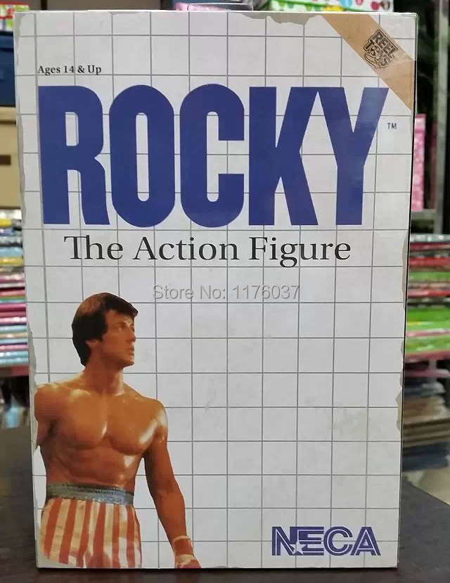 Hot Sale NECA Classic Movie Boxer Rocky Sylvester Stallone With US National Flag 18CM Action Figure Toys New Box(China (Mainland))