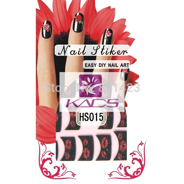 HS15 High Quality&NOT FADE France red Lips Gitter art sticker Decal Stickers Nail Art Manicure Tips DIY Decoration(China (Mainland))