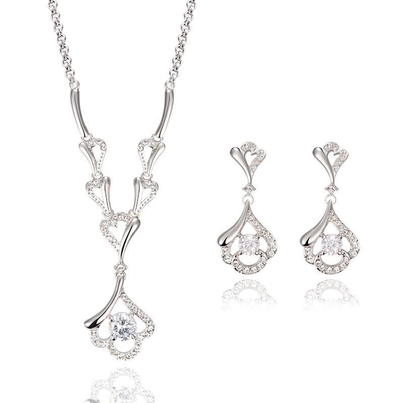 Fashion CZ Diamond Jewelry sets Imitation diamond Pendants necklace silver stud Earring Wedding jewellery Set women 3108(China (Mainland))