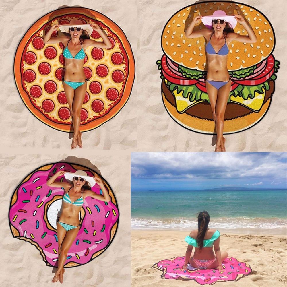 2017 Beach Cover Up Summer Pareo Donut Creative Shape Pizza Beach Mat Swimwear Praia Cartoon Cloak mats