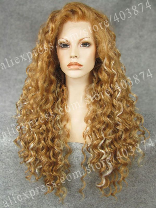 Free Shipping  Promotion  N18-27HR/1001/16  26inch/66cm  Multi-Color  Fashion Curly   Synthetic  Lace Front Wigs<br><br>Aliexpress
