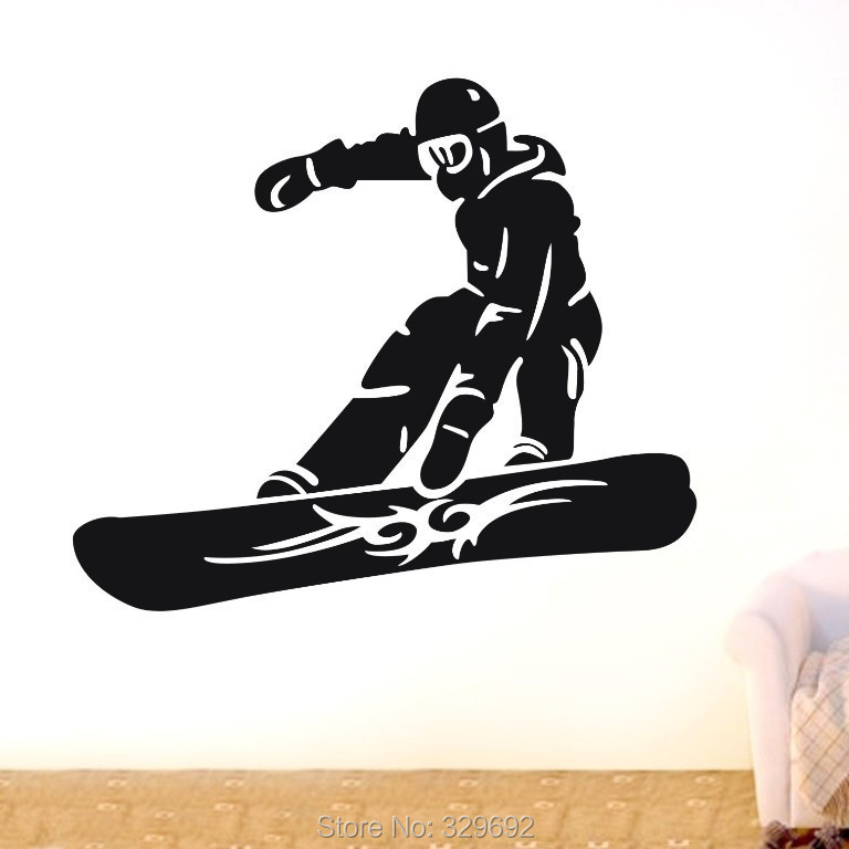 free shipping Snowboarder skiing sports Wall Decor Removable Vinyl Home Decal Wall Sticker Art DIY Mural(China (Mainland))