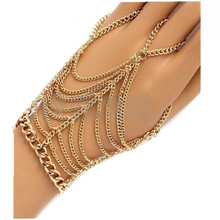 Punk hand chain metal Multilayer ring connected bracelets in one with finger gold tassle slave bracelet ring for women CB091