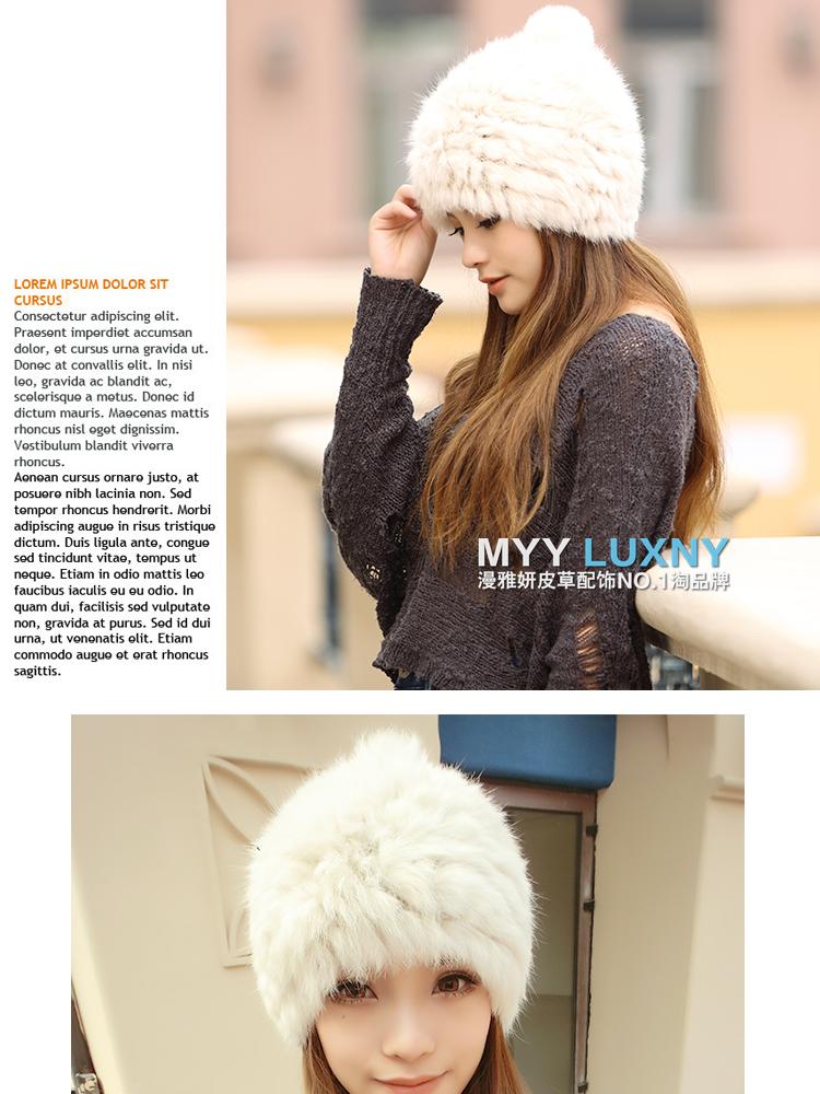 Winter Women fur rabbit hat Lady fashion cute warm wool hat High-grade temperament fur hat