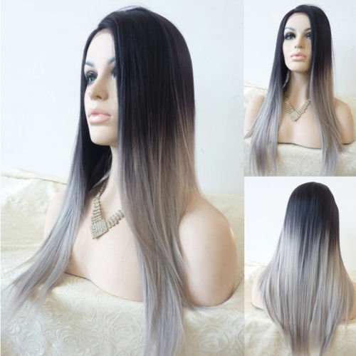 HOT sell Free Shipping &gt;&gt;&gt;&gt;Sexy Long Straight Lace Front Wig Hair Heat Resistant Black Ombre Wigs<br><br>Aliexpress