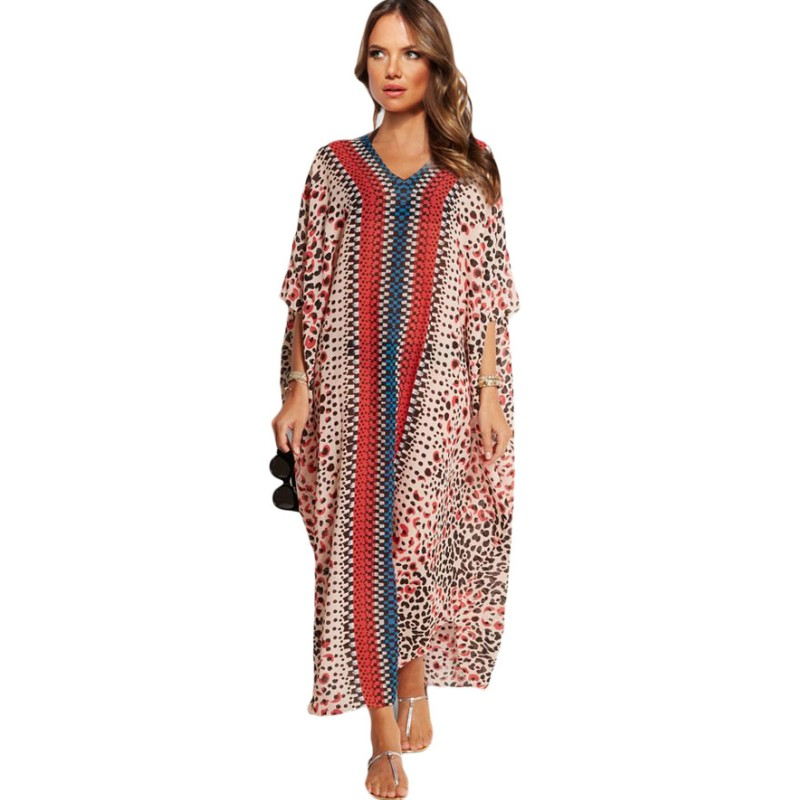 Silk-chiffon-fabric leopard printed kaftan maxi long dress summer 2016 ladies beachwear dresses summer cover up 42068(China (Mainland))