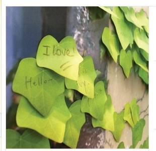 Realistic leaves post-it notes / Green maple leaf Repeat paste / Creative class notes posted messages / Free stickers(China (Mainland))
